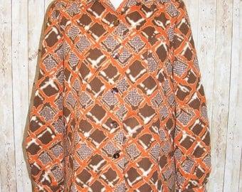 Size 14 vintage 60s boxy shirt longsleeve pocket front orange/brown print (HJ03)