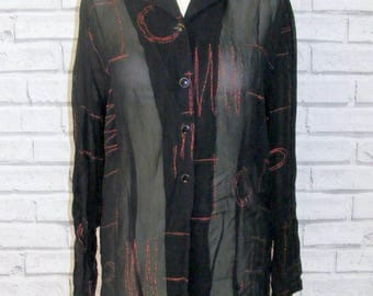 Size 14 vintage 90s long sleeve semi fitted shirt sheer black/sparkly red (IB70)