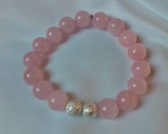 Rose Quartz (semi-precious stone) bracelet and sparkling stardust beads