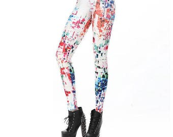 Pixel White Leggings