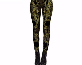 Gold Mmandala Skull Leggings