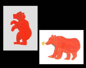 Red Bear Art, Alaskan Greeting Cards. Set of 2 unique collage artwork cards. Elementary student art fundraiser. Alaska Wildlife grizzly bear