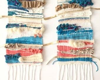Azul Diptych. Tapestry, weaving, woven, hand made, saori, fiber art, wall art, home decor, textile art.