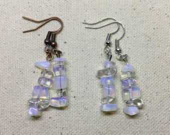 Natural Opalite on Copper Dangle Earrings