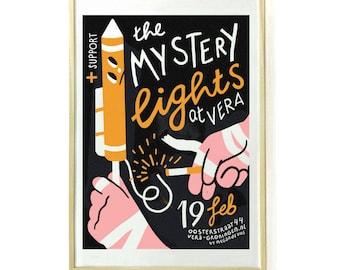 Screenprinted Gig poster for The Mystery Lights (artprint, silkscreen, firework)