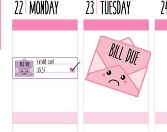 Bill Due Planner Stickers, Bill Payment Stickers, Bill Tracker, Money Tracker, Financial, Happy Planner Stickers, Erin Condren Stickers