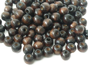 200 wooden beads 10 x 9 mm, dark brown