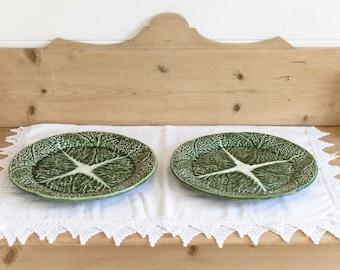 Vintage Majolica Leaf plates, cabbage leaf plates, cabbage plates, Portugal majolica