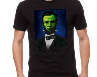 Abraham Lincoln Frankenstein Graphic Men's Black T-shirt