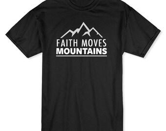 Faith Moves Mountains My Church My Faith Men's Black T-shirt