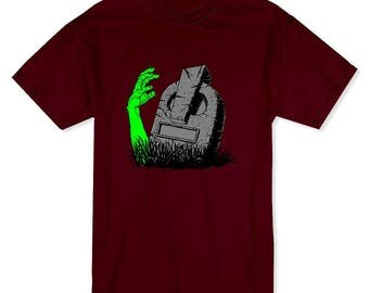 Halloween Zombie Hand Rising From The Grave Men's Cardinal Red T-shirt