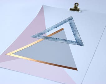 Gold Bronze textured metallic galaxy triangle pastel pink geometric wall art, modern, minimalist art, scandi, office decor, bedroom decor