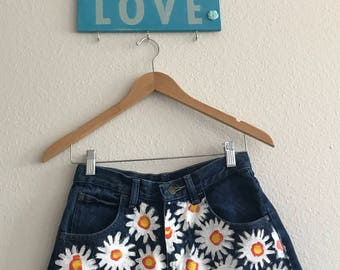 90's High Waisted Wrangler Cut Off Shorts w/ Hand Painted Daisies