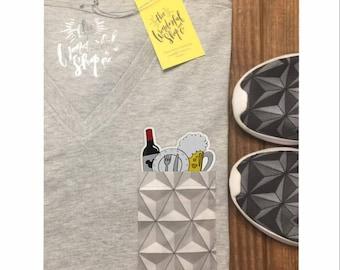 Disney Epcot Food & Wine Festival Limited Edition Design Patch Pocket tee V-Neck T-shirt