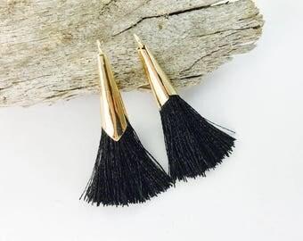 2pc 45mm Beautiful Black Tassel in Gold Cone Cap