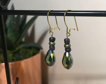 Blue & Green Iridescent Teardrop Earrings