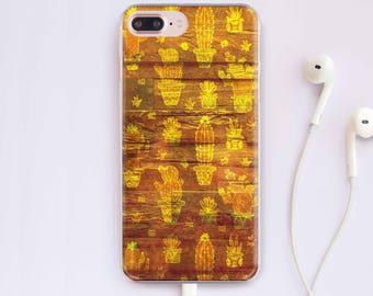 Wooden iPhone Case Wood Phone Case Cacti iPhone 7 Case iPhone 8 Case iPhone 6 Plus Case Samsung Galaxy S7 Edge Case Google Pixel Case CC1280