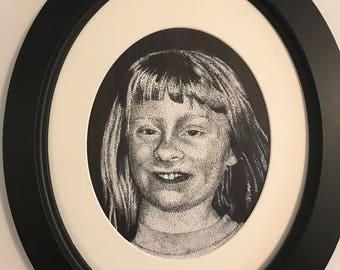 Oval Framed pen and ink potrait