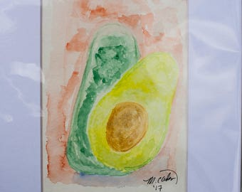 Avocado watercolor still life matted to 5x7 - Original