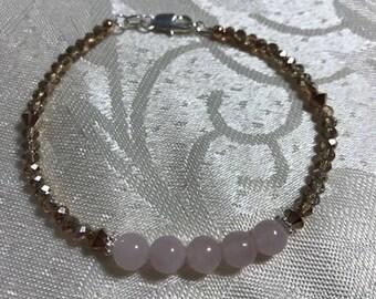 Rose quartz Sterling Silver Bracelet with Metallic rose Gold Crystals