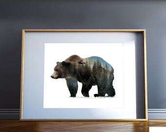 Grizzly Bear Print, Bears, Double Exposure, Animal Prints, Nature, Silhouette Print, Wall Art, Bear Art, Nature, Camping, Bear, Bear print,