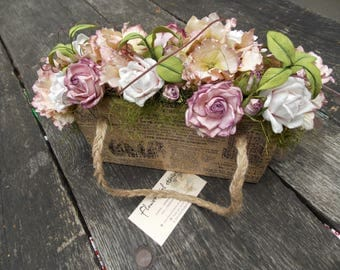 Cardboard home decor with roses, hydrangeas an grapevines, vintage flower pot bag, flower and twine decorated bag, rustic home garden bag