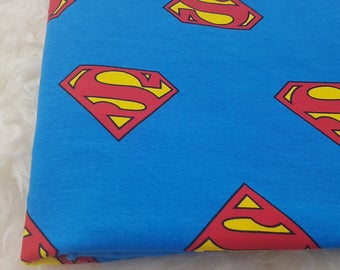 Jersey fabric superman on blue, handmade kids clothing, adult, boys, boxers, t-shirt, shorts, gift for him, birthday, baby shower, leggings
