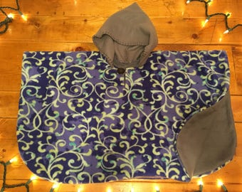 Fleece Hooded Car Seat Poncho Handmade for Toddlers Boy or Girl Prints