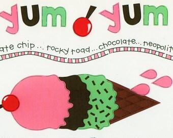 Ice cream Yum Yum Title Over-alls Page Topper 6x12 Title Scrapbooking Scrapbooks Ek Success Embellishments Cardmaking Crafts