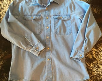 Men's Roebucks Shirt Size Large  Big Pocket Bright Blue Button Up Thick Work Shirt