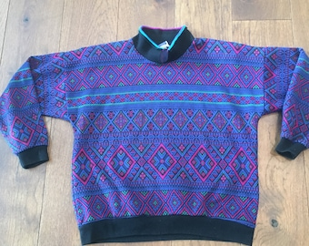 Nordic Print Tribal 90's Bright Ski Sweater Winter Sweater