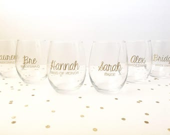Set of 6 Bridesmaid Wine Glass, Bridal Party Wine Glass, Bride Wine Glass