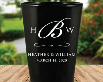 Custom Monogram Black Wedding Favor Shot Glasses