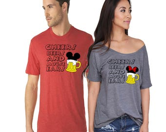 Cheers Beers And Mouse Ears Matching Shirts. Disney Couples Shirt. Disneyland Matching Shirts. Disney Valentines Day