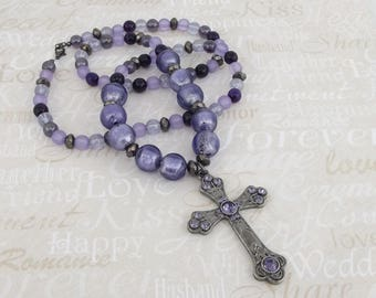 Purple Cross Necklace
