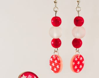 Red and white star ring and earrings