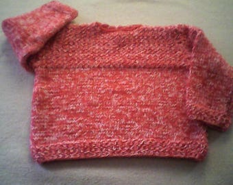 Pink sweater for children 12 to 18 months. Boy or girl pullover