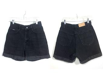 waist 29.5   Lee Riders vintage 90s black denim shorts / high waist shorts / cuffed denim shorts / black 90s mom shorts / Lee Riders shorts
