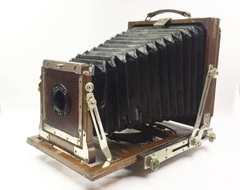 Vintage Wooden 4x5 Large Format Field Camera with Extension Rail