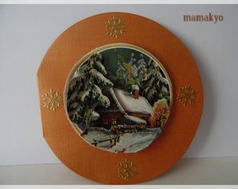 """log cabin"" 3D Christmas card"