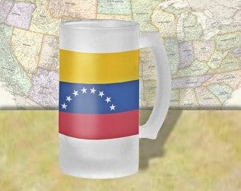 Venezuela Flag Beer Mug, Beer Stein, Country Flag, Country Pride, Beer Glass, 16 oz., Frosted Mug, Beer Thinkers, Beer Lovers, Cold Beer