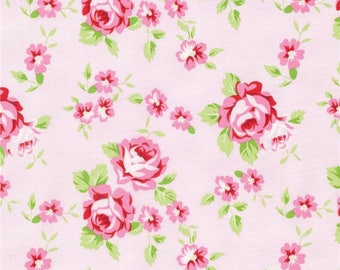END OF BOLT - 3 Yards - Rambling Rose - Happy Rose Pink - by Tanya Whelan for Free Spirit Fabrics - 100% Cotton - Shabby Chic Fabric