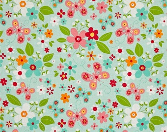 Garden Girl - Main Mint by Zoe Pearn for Riley Blake - Garden Girl Fabric - Zoe Pearn Fabric - Riley Blake Fabrics - Fabric by the Yard