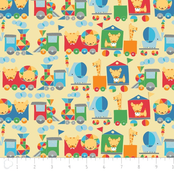 Jungle choochoo in yellow flannel by heather rosas from for Children s flannel fabric by the yard