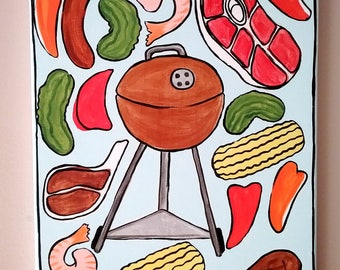 Large Weber Kettle Painting