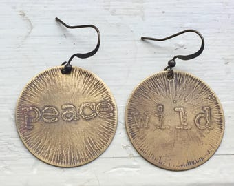 etched brass empowering earrings