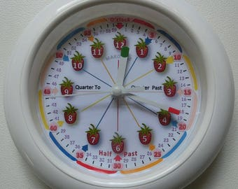 Child Learn Time Clock /Strawberry Wall Clock