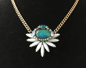 Fabulous Blue and White Pendant Statement  Necklace