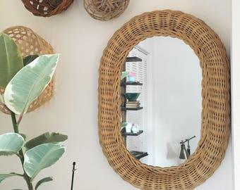 Vintage Woven Wicker Small Accent Mirror