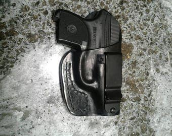 Handmade Ruger LCP 380 leather IWB holster, made in the USA.